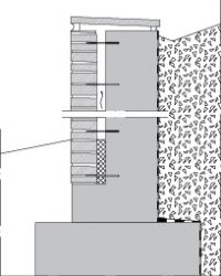 LM201 Liuskekivimuuri, muurattu, tuulettuva